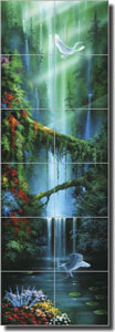 "Miller Tropical Waterfall Glass Wall & Floor Tile Mural 12"" x 36"" - DMA2008"