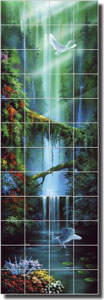 "Miller Tropical Waterfall Ceramic Tile Mural 24"" x 72"" - DMA2008"