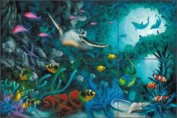 Jewels of the Sea by David Miller Glass Wall Tile Mural DMA2012