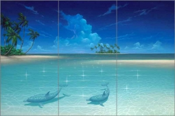 Dolphin Cove by David Miller Glass Wall Tile Mural DMA2013
