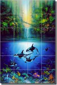 "Miller Tropical Waterfall Glass Tile Mural 24"" x 36"" - DMA2017"