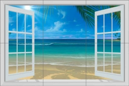 Paradise Beach II by David Miller Ceramic Tile Mural DMA2026