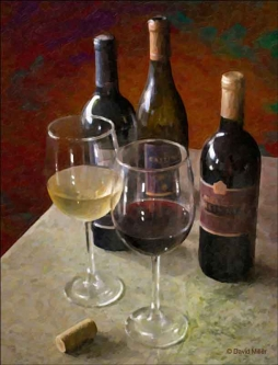 Wine for Two by David Miller Ceramic Accent & Decor Tile - DMA2045AT