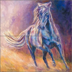 Afternoon Light on Blue Horse by Diane Williams Ceramic Tile Mural - DWA001