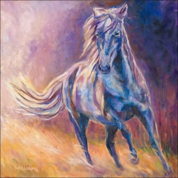 Afternoon Light on Blue Horse by Diane Williams Ceramic Accent & Decor Tile - DWA001AT