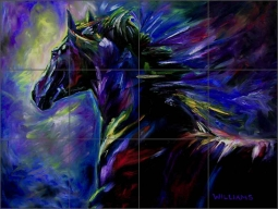 Black Horse by Diane Williams Ceramic Tile Mural - DWA004