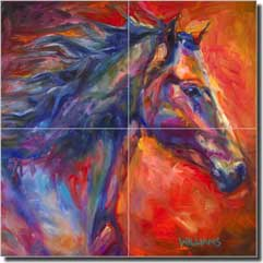 "Williams Abstract Horse Glass Wall Tile Mural 12"" x 12"" - DWA005"