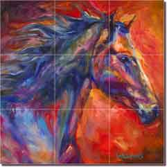 "Williams Abstract Horse Glass Wall Floor Tile Mural 18"" x 18"" - DWA005"