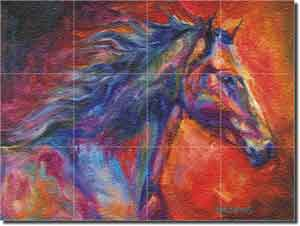 "Williams Abstract Horse Glass Tile Mural 24"" x 18"" - DWA005"