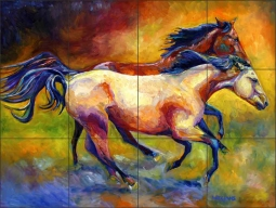 Buckskin & Bay by Diane Williams Ceramic Tile Mural - DWA006