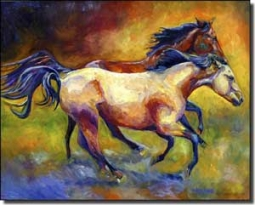 "Williams Buckskin Bay Horses Ceramic Accent Tile 10"" x 8"" - DWA006AT"