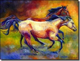 "Williams Buckskin Bay Horses Ceramic Accent Tile 8"" x 6"" - DWA006AT"