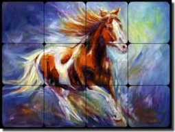 "Williams Horse Equine Tumbled Marble Tile Mural 16"" x 12"" - DWA010"
