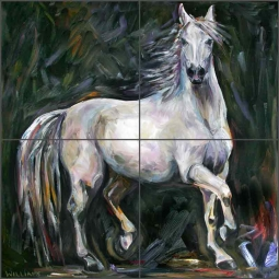 White Mare by Diane Williams Ceramic Tile Mural Ceramic Tile Mural DWA012