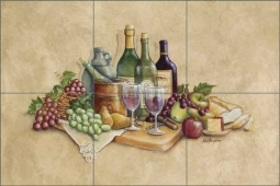 Wine Time by Rita Broughton Ceramic Tile Mural - EC-RB001