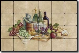 "Broughton Wine Grapes Tumbled Marble Tile Mural 24"" x 16"" - EC-RB001"