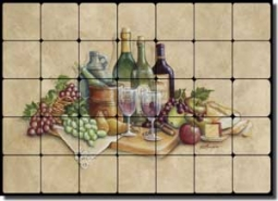 "Broughton Wine Grapes Tumbled Marble Tile Mural 28"" x 20"" - EC-RB001"