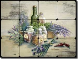 "Broughton Herbs Kitchen Tumbled Marble Tile Mural 16"" x 12"" - EC-RB002"
