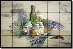 "Broughton Herbs Kitchen Tumbled Marble Tile Mural 24"" x 16"" - EC-RB002"