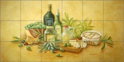 Tuscan Bounty by Rita Broughton Ceramic Tile Mural - EC-RB003