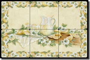 "Broughton Lemons Lemonade Tumbled Marble Tile Mural 18"" x 12"" - EC-RB004"