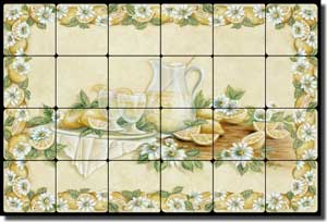 "Broughton Lemons Lemonade Tumbled Marble Tile Mural 24"" x 16"" - EC-RB004"