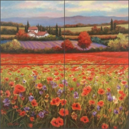 Poppy Pastures by T. C. Chiu Ceramic Tile Mural - EC-TC002