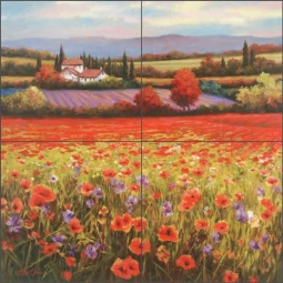 Poppy Pastures I by T. C. Chiu Ceramic Tile Mural - EC-TC002