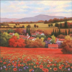 Poppy Pastures II by T. C. Chiu Ceramic Accent & Decor Tile - EC-TC003AT