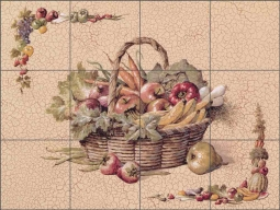 Vegetable Basket by T. C. Chiu Ceramic Tile Mural EC-TC005