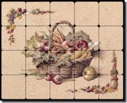 "Chiu Vegetable Kitchen Tumbled Marble Tile Mural 20"" x 16"" - EC-TC005"