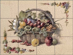 Chiu Vegetable Basket Ceramic Tile Mural EC-TC006