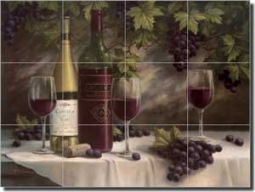 "Chiu Wine Grape Glass Tile Mural 24"" x 18"" - EC-TC007"