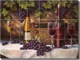 "Chiu Wine Grape Glass Tile Mural 24"" x 18"" - EC-TC009"