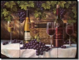 "Chiu Wine Grape Tumbled Marble Tile Mural 24"" x 18"" - EC-TC009"