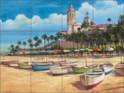Boats on the Shore by T. C. Chiu Ceramic Tile Mural - EC-TC010