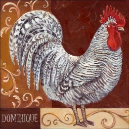 Rustic Rooster I by Theresa Kasun Ceramic Accent & Decor Tile EC-TK001AT