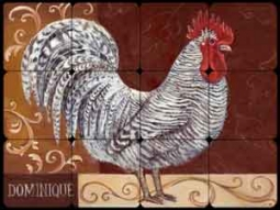 "Kasun Dominique Rooster Tumbled Marble Tile Mural 16"" x 12"" - EC-TK001"