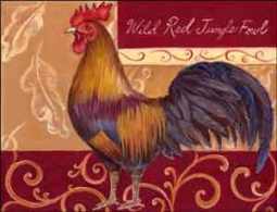 "Kasun Red Jungle Fowl Rooster Ceramic Accent Tile 8"" x 6"" - EC-TK004AT"