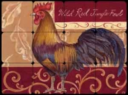 "Kasun Red Jungle Fowl Rooster Tumbled Marble Tile Mural 16"" x 12"" - EC-TK004"