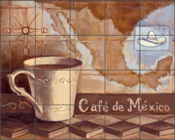 Cafe de Mexico by Theresa Kasun Ceramic Tile Mural - EC-TK005