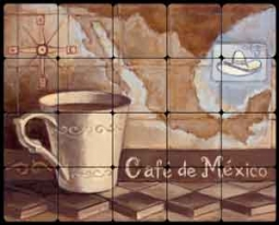 "Kasun Mexican Coffee Tumbled Marble Tile Mural 20"" x 16"" - EC-TK005"