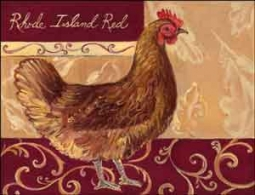 "Kasun Rhode Island Red Rooster Ceramic Accent Tile 8"" x 6"" - EC-TK011AT"