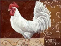 "Kasun White Leghorn Rooster Ceramic Accent Tile 8"" x 6"" - EC-TK012AT"