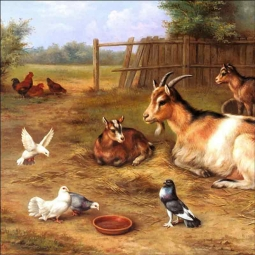 A Farmyard Scene with Goats, Chickens and Doves by Edgar Hunt Accent & Decor Tile EH001AT