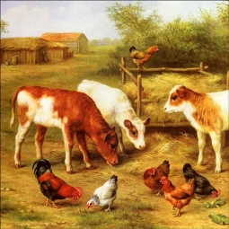 Calves and Chickens Feeding in a Farmyard by Edgar Hunt Ceramic Accent & Decor Tile EH002AT