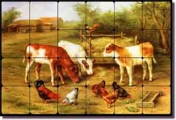 "Hunt Country Farm Calves Chickens Tumbled Marble Tile Mural 24"" x 16"""