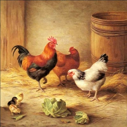 Chickens in a Barnyard by Edgar Hunt Ceramic Accent & Decor Tile EH003AT