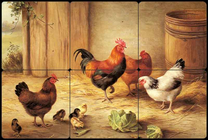 Hunt Rooster Chickens Chicks Tumbled Marble Tile Mural EH003