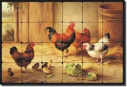 "Hunt Rooster Chickens Chicks Tumbled Marble Tile Mural 24"" x 16"" - EH003"